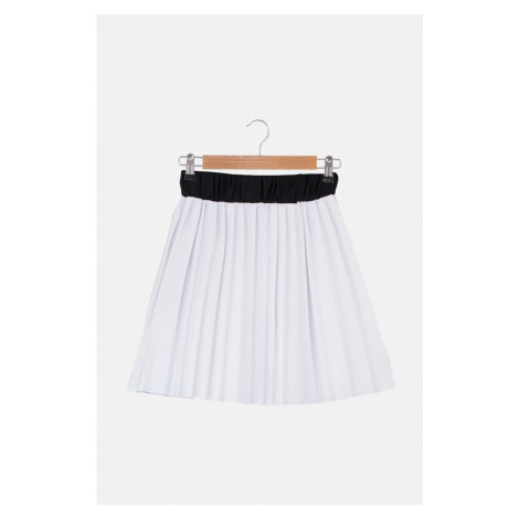 Trendyol White Pleated Knit Skirt