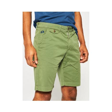 La Martina Bavlnené šortky Chino PMB001 TW187 Zelená Slim Fit