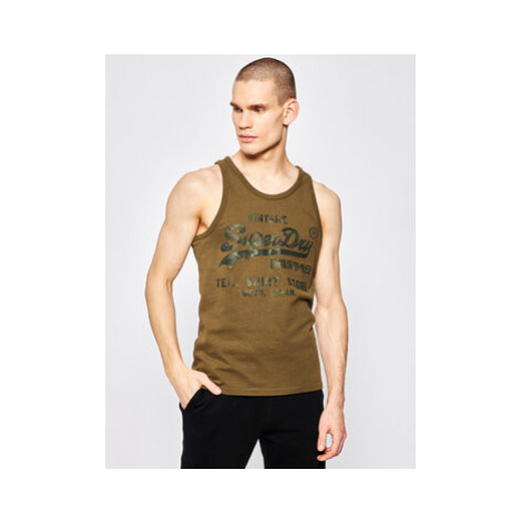 Superdry Tank top Vintage Logo Bonded M6010050A Zelená Regular Fit