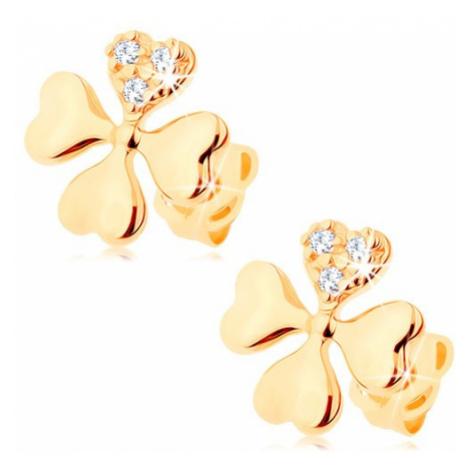 Diamantové náušnice zo žltého 14K zlata - symbol šťastia zo štyroch srdiečok