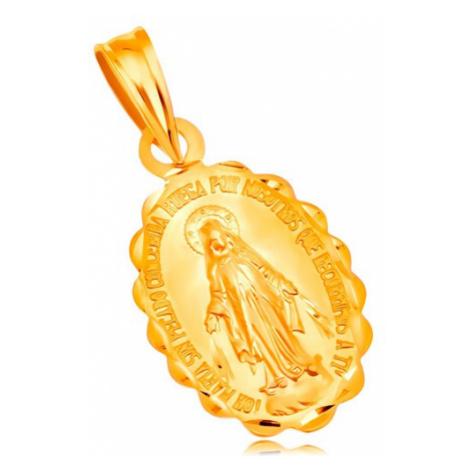 Prívesok zo žltého 18K zlata - oválny medailón Panny Márie, obojstranný