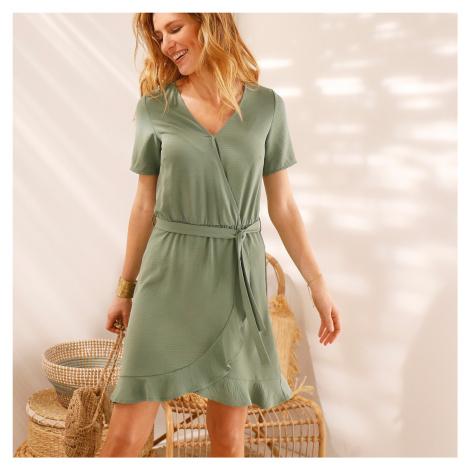 Blancheporte Volánové jednofarebné šaty s efektom prekríženia khaki