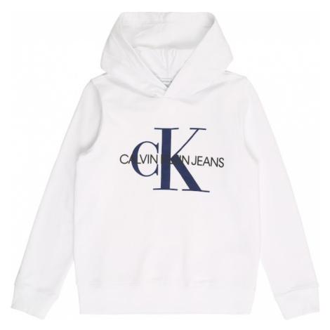 Calvin Klein Jeans Mikina 'MONOGRAM'  biela