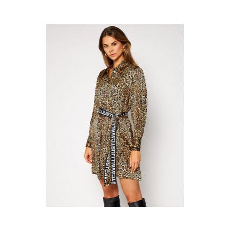 Just Cavalli Košeľové šaty S02CT1060 Hnedá Regular Fit