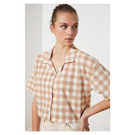 Trendyol Beige Plaid Knitted Shirt