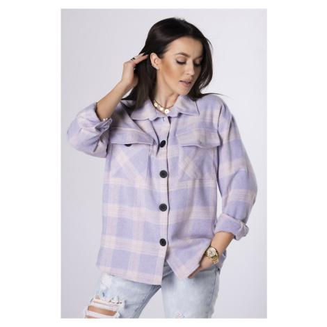 Oversize kockovaná fialová košeľa