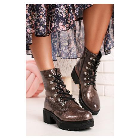 Hnedé šnurovacie členkové topánky Karlene Bestelle