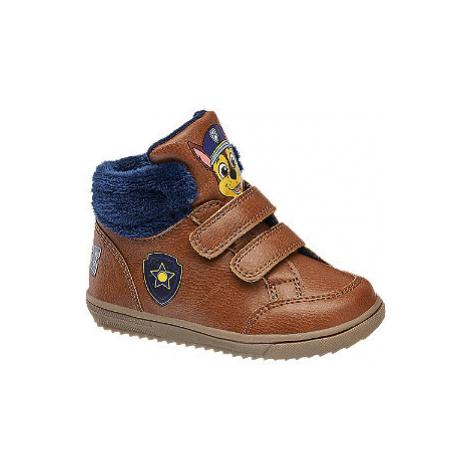 Hnedá detská členková obuv na suchý zips Labková patrola