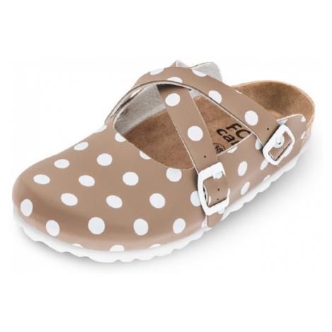 Béžová bodkovaná zdravotná obuv 101017