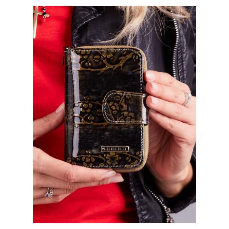 Zlatá kožená peňaženka s kvetmi