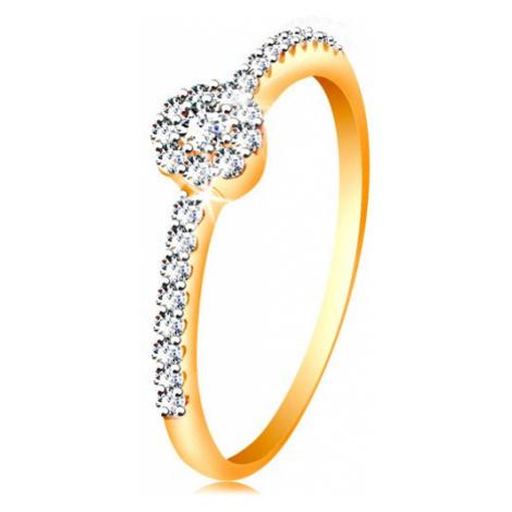 Prsteň v 14K zlate - žiarivý kvietok z čírych zirkónov, zdobené ramená - Veľkosť: 59 mm