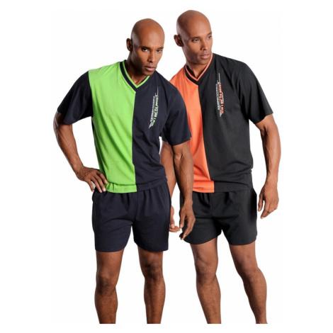 LE JOGGER Krátke pyžamo  neónovo zelená / oranžová / čierna