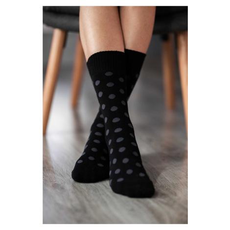 Zimné barefoot ponožky - Bodky - čierno-sivé 43-46