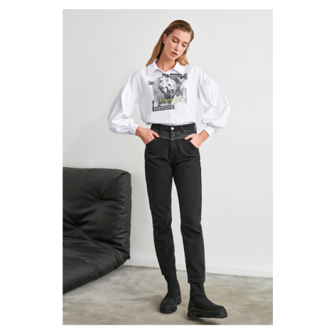 Trendyol Black Seam Detailed Wash High Waist Mom Jeans
