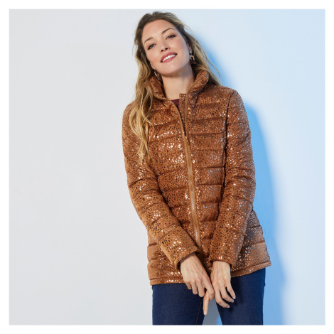 Blancheporte Krátka prešívaná lesklá bunda potlač karamelová