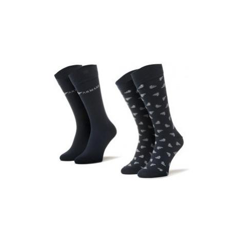 Emporio Armani Súprava 2 párov vysokých pánskych ponožiek 302302 0A292 00135 r.39/46 Tmavomodrá