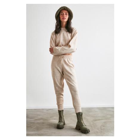 Trendyol Beige Knitwear Sweater-Trousers Bottom-Top Suit