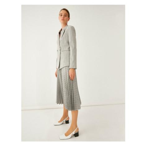 Koton Striped Pleated Midi Skirt