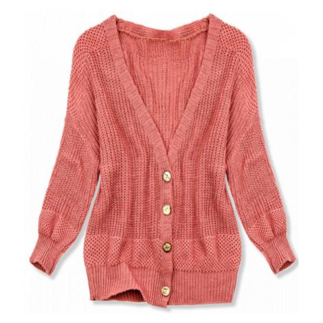 Koralový pletený sveter na gombíky
