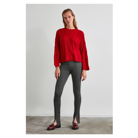 Trendyol Interlok Knitted Trousers with Anthracite Slits