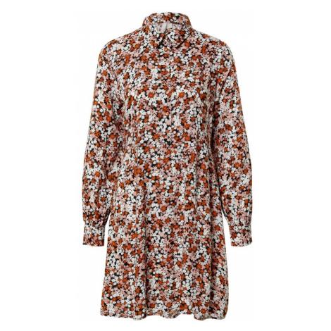 PIECES Košeľové šaty 'FRIDINEN'  karamelová / ružová / biela / čierna
