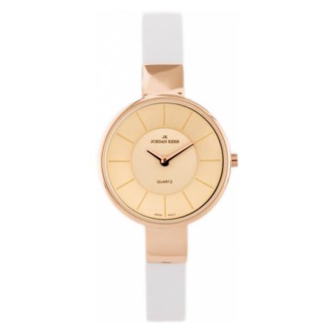 Dámske hodinky s bielym koženým remienkom Jordan Kerr 2249L-A