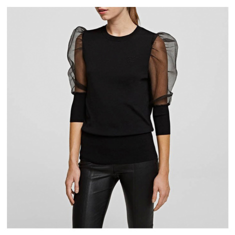 Karl Lagerfeld Organza Sleeve Sweater 206W2001 999