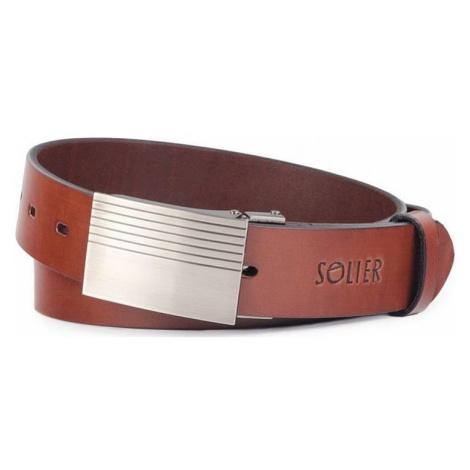 Hnedý kožený pánsky opasok sb12 dark brown Solier