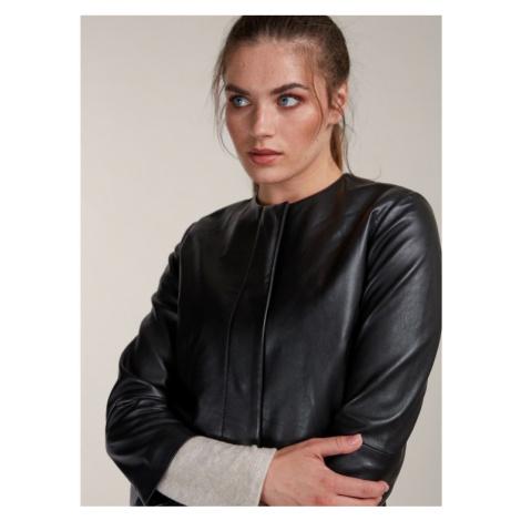 Černý kožený kabát KARA
