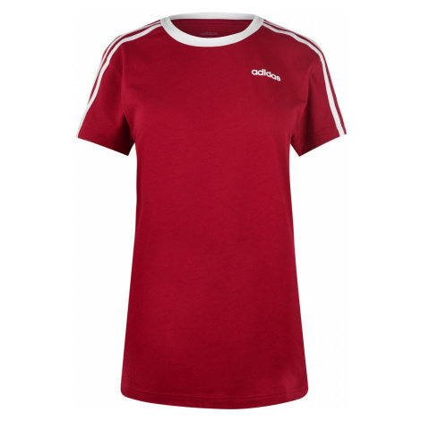 Adidas Essentials 3 Stripe T Shirt Ladies Active Maroon