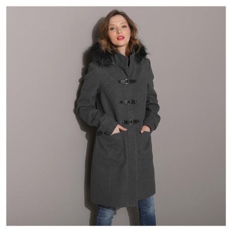 Blancheporte Kabát duffle-coat s kapucňou antracitový melír