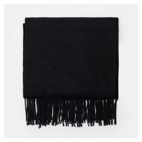 Cropp - Hladký šál so strapcami - Čierna