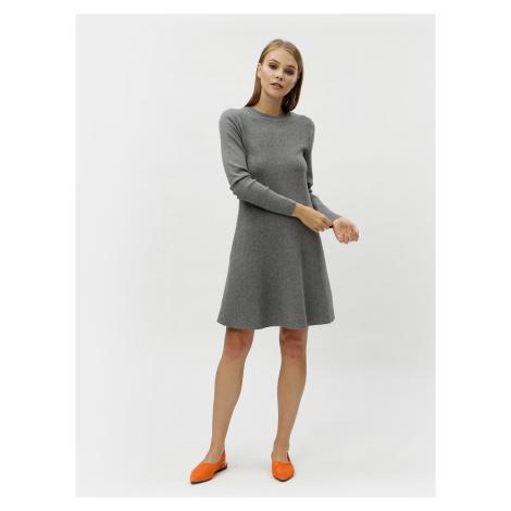 Sivé melírované svetrové šaty s dlhým rukávom VERO MODA Nancy