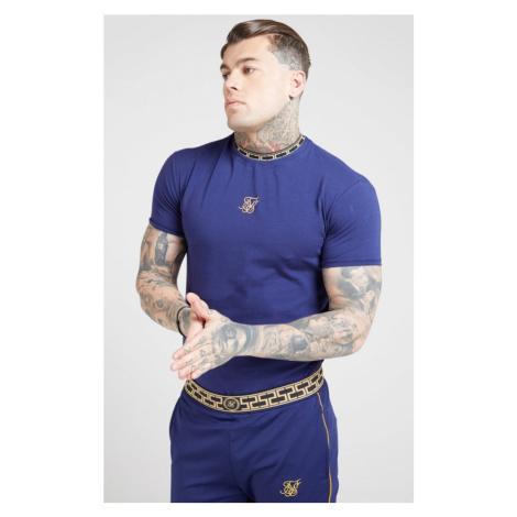 SIK SILK Pánske tričko SikSilk Tape Collar Gym tmavomodré