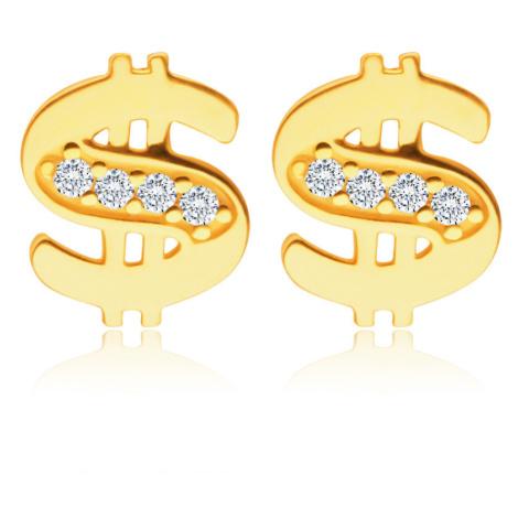 Diamantové náušnice v žltom 14K zlate - dolár zdobený drobnými briliantmi čírej farby