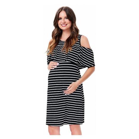 Materské šaty Weba čierne s bielymi pruhmi