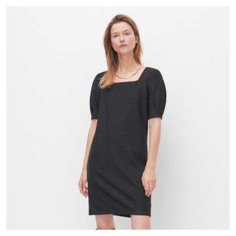 Reserved - Šaty s hranatým výstrihom - Čierna