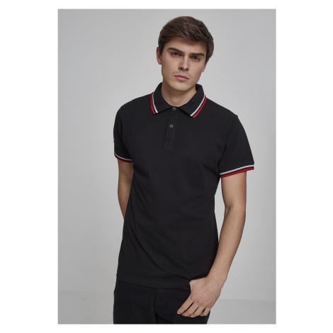 Pánska polokošeľa URBAN CLASSICS Double Stripe Poloshirt blk/wht/firered