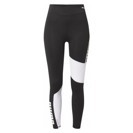 PUMA Športové nohavice  biela / čierna