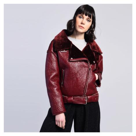 Bordová koženková bunda Glamorous