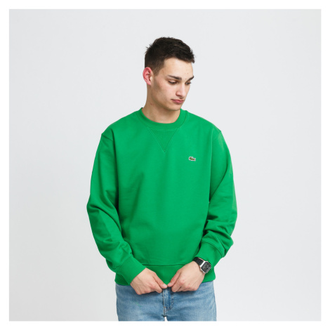 LACOSTE Crew Neck Organic Cotton Fleece Sweatshirt zelená