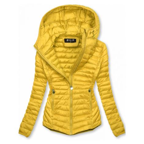 Žltá prešívaná prechodná bunda