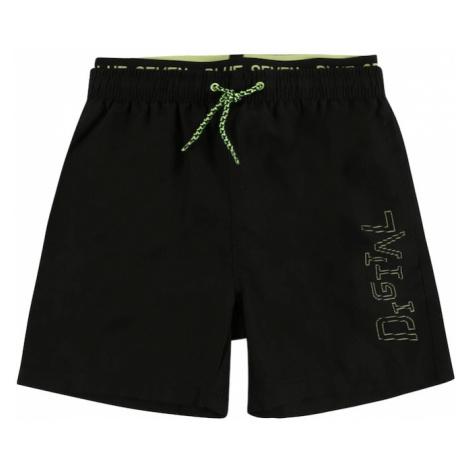 BLUE SEVEN Nohavice  čierna / neónovo zelená