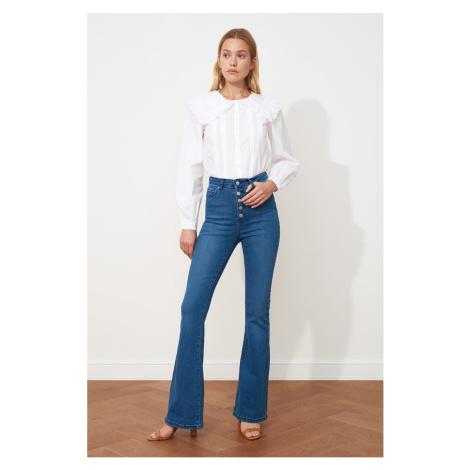 Modré dámske džínsy bootcut
