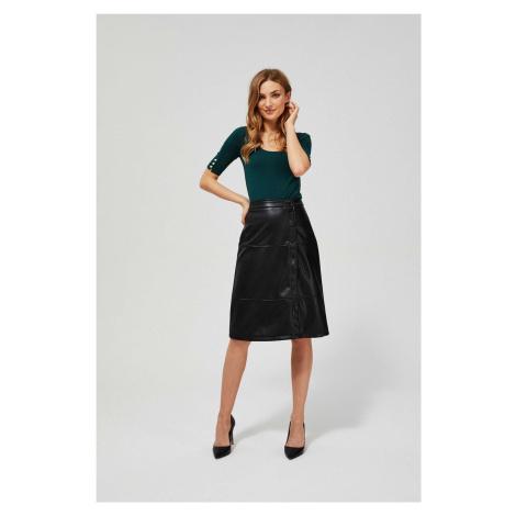 Moodo čierna koženková sukňa s vysokým pásom