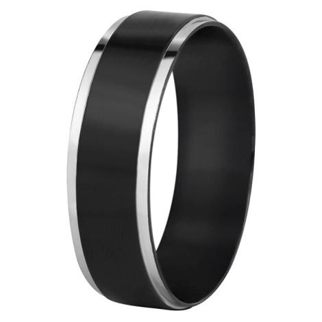 Troli Oceľový čierny prsteň so strieborným okrajom mm