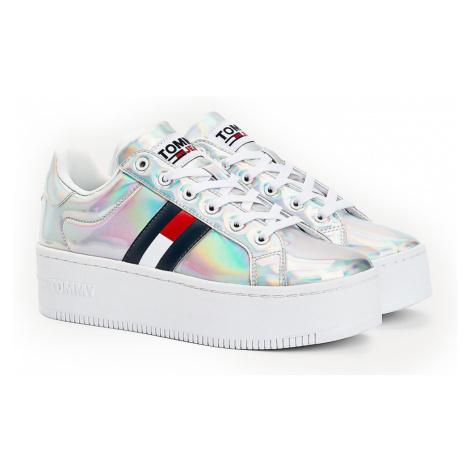 Tommy Hilfiger strieborné tenisky na platforme Fully Iridescent Ironic Sneaker