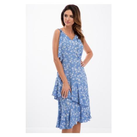 Šaty na ramienka s potlačou kvetov a asymetrickým strihom, modré FASARDI