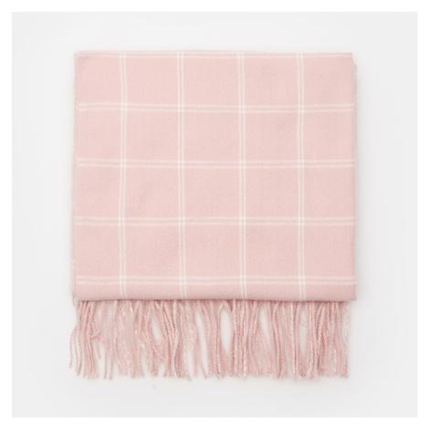 Cropp - Kockovaný šál so strapcami - Ružová