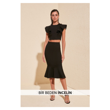 Trendyol Black Body Thin Volli Skirt Black